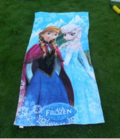 beach towel - 2014 New x65cm Frozen Towels baby bath towel Children Beach Bath Towel Frozen Elsa Anna Princess Girls Bikini Covers