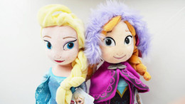 Wholesale 2pcs New Arrival Cartoon Forzen Baby Kids Stuffed Plush Toys Elsa And Anna Princess Dolls cm Inch Big Size Children Frozen Dolls Toys