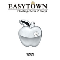 Charms apple locket - 2016 Summer style Silver apple charms latest fashion floating locket charm fits floating lockets for women jewelry