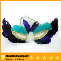 Wholesale 2014 Mens Carving Flower Mask Mask Halloween Costume Party Feather Mask Eye Mask