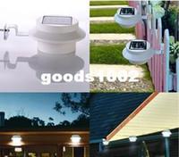 achat en gros de lampe de jardin clôture solaire-Extérieure Solaire 3 LED Clôture de la Gouttière Jardin Cour Toit Mur de Lampe solaire, de l'éclairage d'urgence Blanc froid/Blanc Chaud