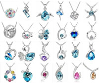 Wholesale 925 silver necklace Elements Austrian crystal plating platinum necklace pendant Optional style otherwise random new