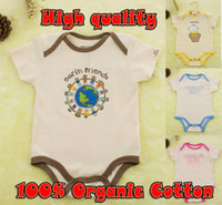 Wholesale hot sale100 Organic Cotton baby rompers Branded infant Jumpsuit newborn Toddler short sleeve Children clothes underwear boys girls soft