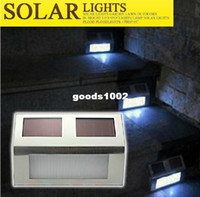 Wholesale 3LED solar Led Fence light lamp outdoor Landscape Garden Path Wall Light Lamp solar stair light