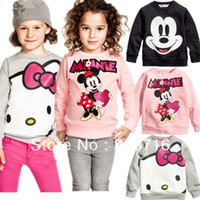 Cheap 2013 New Arrival autumn Boys Girl Long Sleeve Mickey Minnie mouse hello kitty cartoon top kids t shirts Baby Childrens clothes