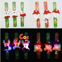 Wholesale Brand New Flash Plush Santa Claus LED Light GLOW BRACELETS Wrist Band For Kids Christmas Game Toys Gift