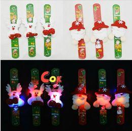 Brand New Flash Plush Santa Claus LED Light GLOW BRACELETS Wrist Band For Kids Christmas Game Toys Gift