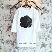 Wholesale Korean Autumn Children Girls Long Sleeve Flower Printed Letter Dresses Kids Clothing Dress Childs Girl High Quality Dressy Black White M1232