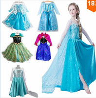 Wholesale 2014 new cosplay Frozen dress stage costume Anna dress Mixed design girls dresses kids child baby clothing