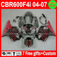 7gifts For HONDA CBR600F4i CBR600 F4i 04 05 06 07 Red flames...