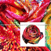 Cheap Jinhong Fu manual crimping silk scarf large square satin heavyweight inkjet mangroves