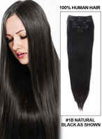 24 inch clip in human hair extensions - 16 inches inches Natural Black b Full head pieces India remy human hair Clip In Extensions g set
