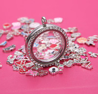 Lockets best memories - 10pcs round mm living floating glass openable memory magnetic lockets best seller Zinc Alloy Rhinestones including rolo chains free