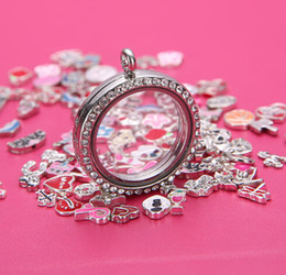Wholesale 10pcs round mm living floating glass openable memory magnetic lockets best seller Zinc Alloy Rhinestones including rolo chains free