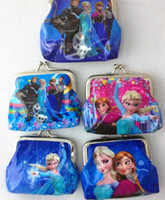Wholesale lastest fashion girls favorite movie Cartoon Frozen Coin Purse with iron button Anna Elsa Olaf shell bag wallet Purses for children child