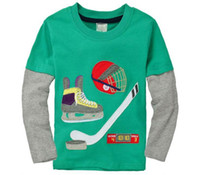 Wholesale Boy T shirts Ice Hockey Green Cartoon Cotton Long Sleeve T shirts