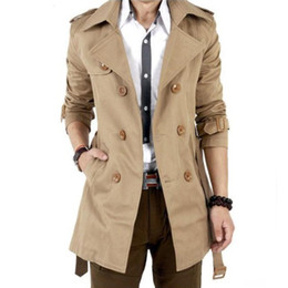 Wholesale Spring And Autumn Trench Coat Men Double Breasted Trench Men s Outerwear Casual Coat Mens Overcoat Mens Black Trench Coat