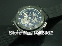 Cheap Brand New Rare Men's Skeleton Dial Tourbillon PVD Chronograph Automatic Watches Sports Men Wristwatch