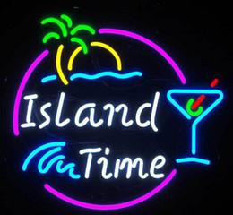 New Island Time Glass Neon Sign Light Pub
