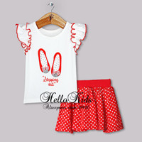 Wholesale Christmas Girls Clothing Set White Cotton T Shirt With Shoes Printing And Red Skirt CS30828