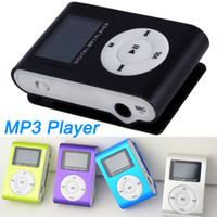 Wholesale Mini Metal Clip MP3 Player Cheap Sport Digital MP3 Players w LCD Screen TF Micro SD Card Slot w USB Cable Earphone Retail Box