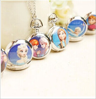 Wholesale 2015 Children christmas gifts party gift kids pocket watches Elsa anna printed girls Enamel Ceramic watch necklace sweater chain pendant