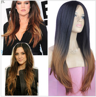 Cheap cheap wigs two-tone 2R30 Fashion ombre celebrity wig big wave female elegant wigs wavy wig synthetic Free Shipping