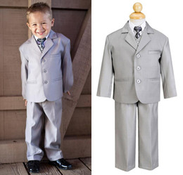 Wholesale Custom Made Little Men Light Grey Three Buttons Suits Notch Lapel Boy s Kids Formal Occasion New Design Wedding Party Tuxedos