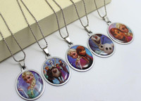 anna necklace - 2015 Girls Necklaces Party gifts Hot Girl Elsa Anna Stainless Steel Pendant Fashion Baby Olaf Necklaces Jewelry Styles Mixed