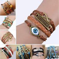 faith bracelet - Infinity leather bracelet Wraps bracelet Anchor Clover Music note love wings owl wish tree believe faith hope cross Rudder Compass Bracelet