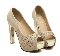 ball wedding shoes - Glitter silver wedding shoes gold diamond rhinestone sexy high heels princess prom ball shoes size to YL