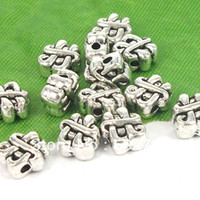 Cheap Free Shipping Wholesale Lots 40pcs Tibetan silver Tone Chinese knot Spacer Beads Jewelry Finding TS9171