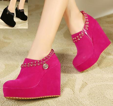 New Hot Pink with Chain Platform Wedge Shoes Quality Women High