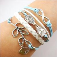 Wholesale Mixed style cross Infinity Anchor owl Branch love Bracelet bird believe faith courage Braided Leather Charm Bracelets December Shengpi Shen