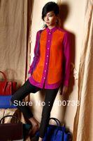 Cheap NEW High Street Fashion Beautiful Chiffon Full Sleeve Women's Patchwork Shirts Blouses Tops autumn Summer B207