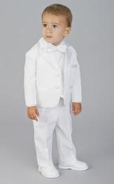 Wholesale Newest Two Buttons Boy Tuxedos Notch Satin Lapel Children Suit White Kid Wedding Prom Suits Jacket Pants Tie Vest Shirt Suspenders A84