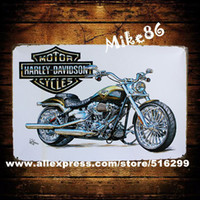 Cheap [ Mike86 ] Silver Style HD Motor Metal wall Signs Gift PUB ART Painting Poster Craft Bar Decor AA-99 Mix order 20*30 CM