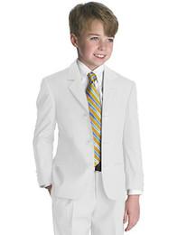 Wholesale High Quality Three Buttons Boy Tuxedos Notch Lapel Children Suit White Kid Wedding Prom Suits Jacket Pants Tie Girdle Shirt Suspenders A103