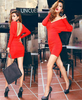 Cheap 2014 New Brand Package Hip Women Bodycon Dresses Sexy V-neck Spring Dresses For Women Casual Women Clothing