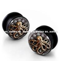 Wholesale octopus logo ear plug acrylic screw fit ear plug flesh tunnel body piercing mix size mm mm A0199