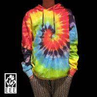 Cheap Wholesale-Handmade Tie-dye Classic Swirl rainbow colorful Skateboard T shirt Terry lovers