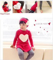 Wholesale love heart headband clothing baby dress SET baby girl long sleeve shirt pant hairband SET for Autumn sets