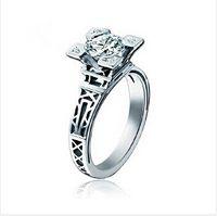 american thailand - New French Fashion stylist High Quality Thailand Rings Eiffel Tower zircon Crystal K Platinum Plated