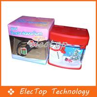 Wholesale USB Powered Mini Aquarium Fish Tank With LED Christmas SnowmanLight