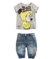 Wholesale set kids cotton t shirt jeans set children clothes Brand name casual cartoon Minnie mouse clothes set