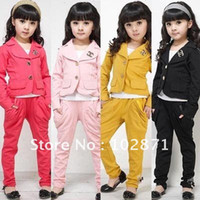 Wholesale HOT sets New Girls chic suit pants Kids GIRLs sweat suit jogging sets Children s suits Lowest price