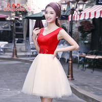 Cheap 2014 Fashion Sweet Deep V Sashes Bridesmaid Dress white Red assorted Color design Gown Prom Formal Party Dress Under $50