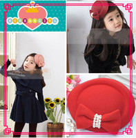Wholesale Pure color Bows girls hat clip baby headbands homburg hair pins billycock headwear Mixed order H014