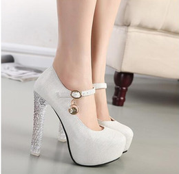 Wholesale 2015 New Wedding Shoe High Heels CM Gold Silver Prom Shoes Princess Waterproof Bowknot Women s Shoes Bridal Shoes Size US