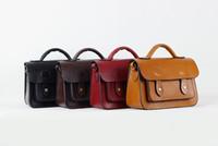 Wholesale original retro vintage100 genuine leather mini pillow message bag with three comparments briefcase satchels cross body